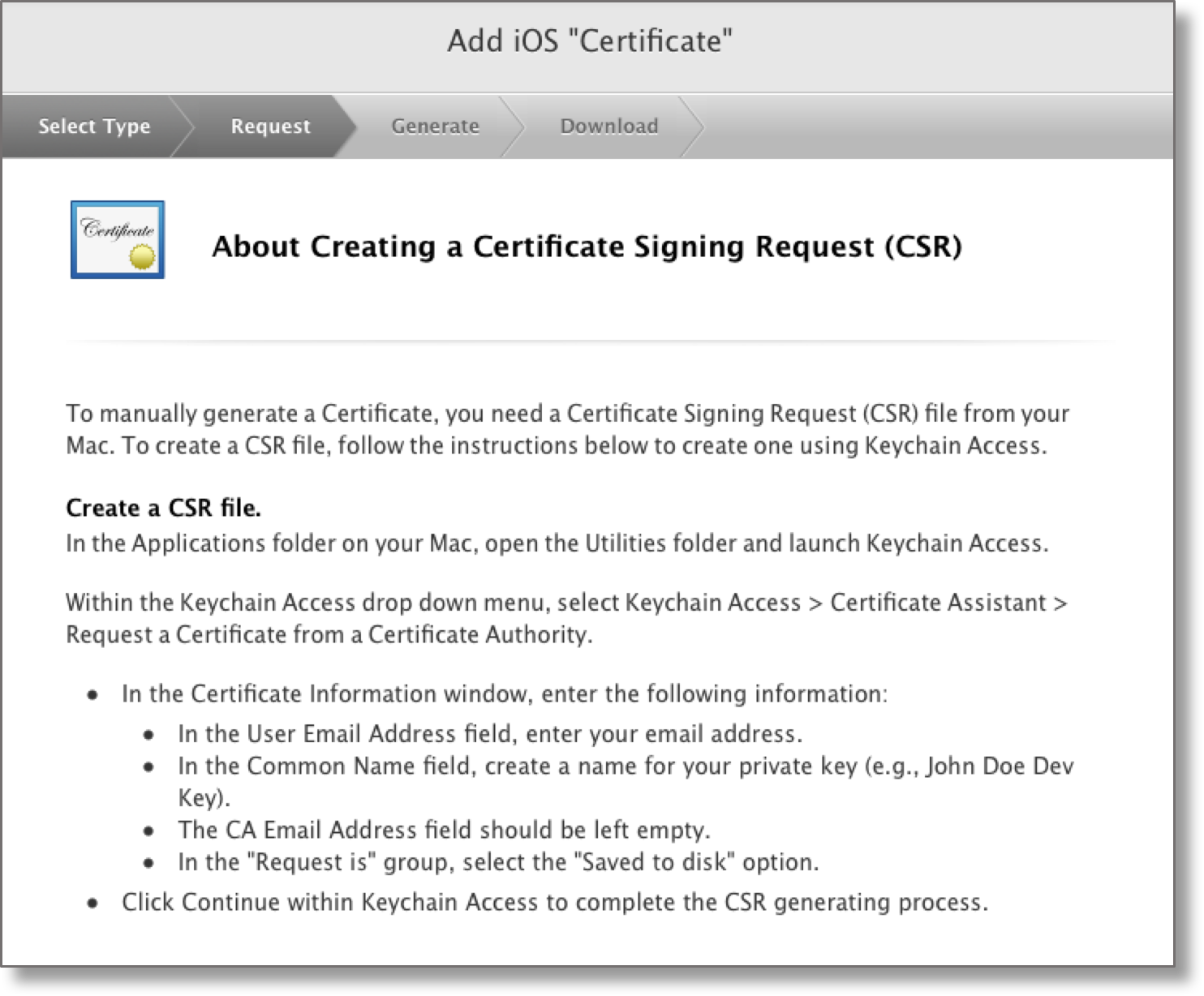Creating an ios distribution certificate and p12 file for signing for the next steps you can follow the steps provided by apple for creating a certificate signing request csr 1betcityfo Image collections