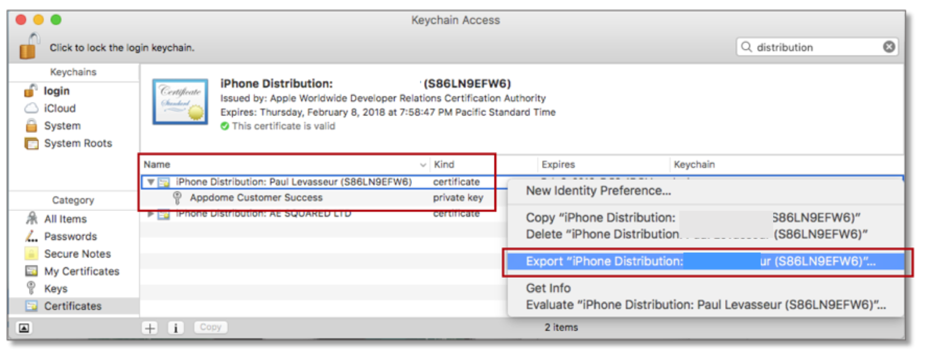 Creating an ios distribution certificate and p12 file for signing locate your new certificate and expand it by clicking the triangle icon to the left of the certificate name after expanding you should see a private key xflitez Images